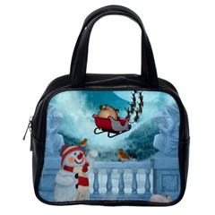 Christmas Design, Santa Claus With Reindeer In The Sky Classic Handbags (one Side) by FantasyWorld7