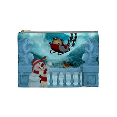 Christmas Design, Santa Claus With Reindeer In The Sky Cosmetic Bag (medium)  by FantasyWorld7