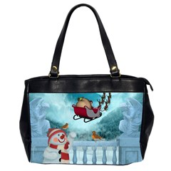 Christmas Design, Santa Claus With Reindeer In The Sky Office Handbags (2 Sides)  by FantasyWorld7