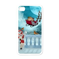 Christmas Design, Santa Claus With Reindeer In The Sky Apple Iphone 4 Case (white) by FantasyWorld7
