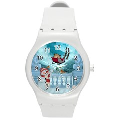 Christmas Design, Santa Claus With Reindeer In The Sky Round Plastic Sport Watch (m) by FantasyWorld7