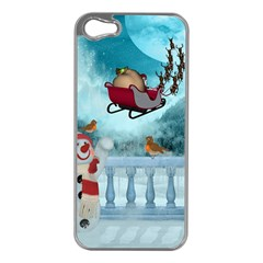 Christmas Design, Santa Claus With Reindeer In The Sky Apple Iphone 5 Case (silver) by FantasyWorld7