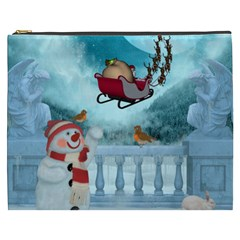 Christmas Design, Santa Claus With Reindeer In The Sky Cosmetic Bag (xxxl)  by FantasyWorld7