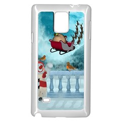 Christmas Design, Santa Claus With Reindeer In The Sky Samsung Galaxy Note 4 Case (white) by FantasyWorld7