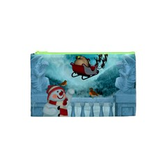 Christmas Design, Santa Claus With Reindeer In The Sky Cosmetic Bag (xs) by FantasyWorld7