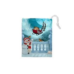 Christmas Design, Santa Claus With Reindeer In The Sky Drawstring Pouches (xs)  by FantasyWorld7