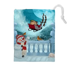 Christmas Design, Santa Claus With Reindeer In The Sky Drawstring Pouches (extra Large) by FantasyWorld7