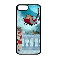 Christmas Design, Santa Claus With Reindeer In The Sky Apple Iphone 7 Plus Seamless Case (black) by FantasyWorld7
