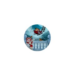 Christmas Design, Santa Claus With Reindeer In The Sky 1  Mini Buttons by FantasyWorld7