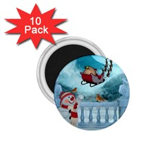 Christmas Design, Santa Claus With Reindeer In The Sky 1 75  Magnets (10 Pack)  by FantasyWorld7