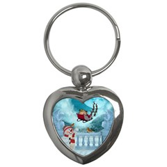 Christmas Design, Santa Claus With Reindeer In The Sky Key Chains (heart)  by FantasyWorld7