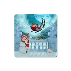 Christmas Design, Santa Claus With Reindeer In The Sky Square Magnet by FantasyWorld7