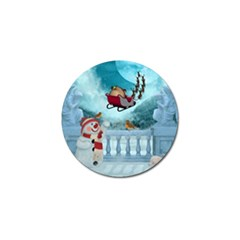 Christmas Design, Santa Claus With Reindeer In The Sky Golf Ball Marker (10 Pack) by FantasyWorld7