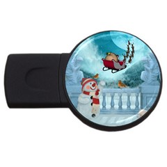 Christmas Design, Santa Claus With Reindeer In The Sky Usb Flash Drive Round (2 Gb) by FantasyWorld7