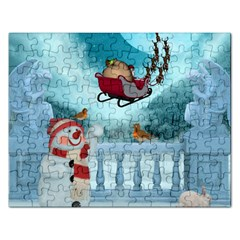 Christmas Design, Santa Claus With Reindeer In The Sky Rectangular Jigsaw Puzzl by FantasyWorld7