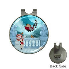 Christmas Design, Santa Claus With Reindeer In The Sky Hat Clips With Golf Markers by FantasyWorld7