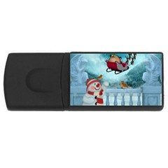 Christmas Design, Santa Claus With Reindeer In The Sky Rectangular Usb Flash Drive by FantasyWorld7