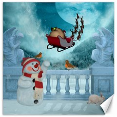 Christmas Design, Santa Claus With Reindeer In The Sky Canvas 20  X 20   by FantasyWorld7
