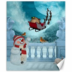 Christmas Design, Santa Claus With Reindeer In The Sky Canvas 20  X 24   by FantasyWorld7