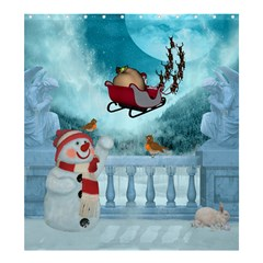 Christmas Design, Santa Claus With Reindeer In The Sky Shower Curtain 66  X 72  (large)  by FantasyWorld7