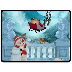 Christmas Design, Santa Claus With Reindeer In The Sky Fleece Blanket (large)  by FantasyWorld7