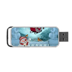 Christmas Design, Santa Claus With Reindeer In The Sky Portable Usb Flash (one Side) by FantasyWorld7