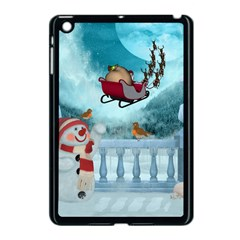 Christmas Design, Santa Claus With Reindeer In The Sky Apple Ipad Mini Case (black) by FantasyWorld7