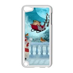 Christmas Design, Santa Claus With Reindeer In The Sky Apple Ipod Touch 5 Case (white) by FantasyWorld7