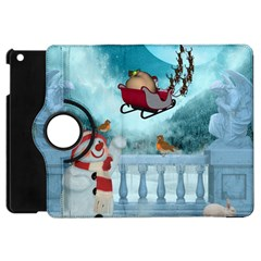 Christmas Design, Santa Claus With Reindeer In The Sky Apple Ipad Mini Flip 360 Case by FantasyWorld7