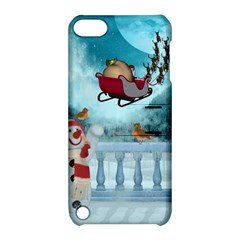 Christmas Design, Santa Claus With Reindeer In The Sky Apple Ipod Touch 5 Hardshell Case With Stand by FantasyWorld7