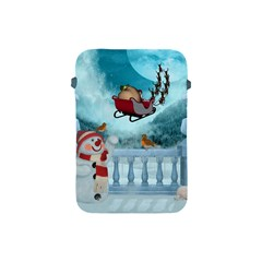 Christmas Design, Santa Claus With Reindeer In The Sky Apple Ipad Mini Protective Soft Cases by FantasyWorld7