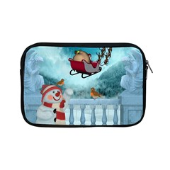 Christmas Design, Santa Claus With Reindeer In The Sky Apple Ipad Mini Zipper Cases by FantasyWorld7