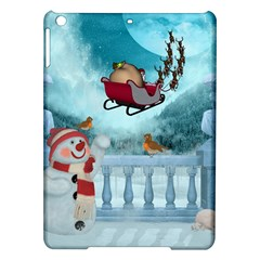 Christmas Design, Santa Claus With Reindeer In The Sky Ipad Air Hardshell Cases by FantasyWorld7