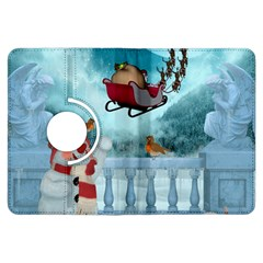 Christmas Design, Santa Claus With Reindeer In The Sky Kindle Fire Hdx Flip 360 Case by FantasyWorld7