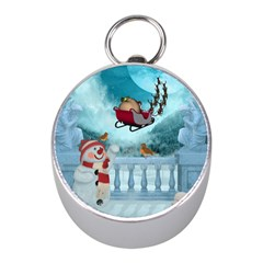 Christmas Design, Santa Claus With Reindeer In The Sky Mini Silver Compasses by FantasyWorld7