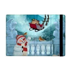 Christmas Design, Santa Claus With Reindeer In The Sky Ipad Mini 2 Flip Cases by FantasyWorld7