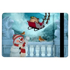 Christmas Design, Santa Claus With Reindeer In The Sky Ipad Air Flip by FantasyWorld7