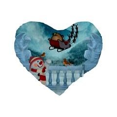 Christmas Design, Santa Claus With Reindeer In The Sky Standard 16  Premium Flano Heart Shape Cushions by FantasyWorld7