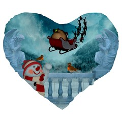 Christmas Design, Santa Claus With Reindeer In The Sky Large 19  Premium Flano Heart Shape Cushions by FantasyWorld7