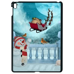 Christmas Design, Santa Claus With Reindeer In The Sky Apple Ipad Pro 9 7   Black Seamless Case by FantasyWorld7