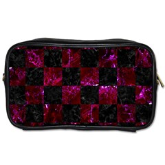 Square1 Black Marble & Burgundy Marble Toiletries Bags 2 Side by trendistuff