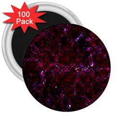 Scales2 Black Marble & Burgundy Marble (r) 3  Magnets (100 Pack)