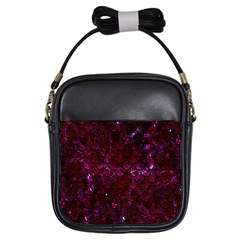 Scales2 Black Marble & Burgundy Marble (r) Girls Sling Bags by trendistuff