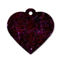Damask2 Black Marble & Burgundy Marble Dog Tag Heart (one Side) by trendistuff