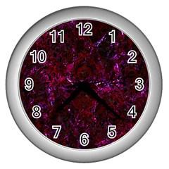 Damask1 Black Marble & Burgundy Marble (r) Wall Clocks (silver)  by trendistuff