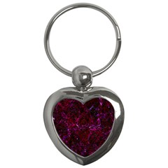 Damask1 Black Marble & Burgundy Marble (r) Key Chains (heart)  by trendistuff