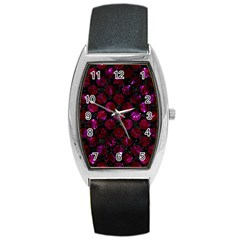Circles2 Black Marble & Burgundy Marble Barrel Style Metal Watch by trendistuff