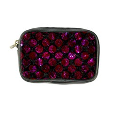 Circles2 Black Marble & Burgundy Marble Coin Purse by trendistuff