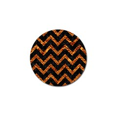 Chevron9 Black Marble & Copper Foil Golf Ball Marker by trendistuff