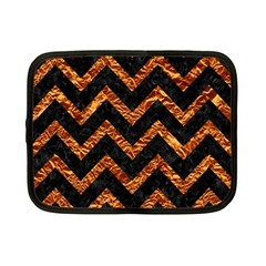 Chevron9 Black Marble & Copper Foil Netbook Case (small)  by trendistuff
